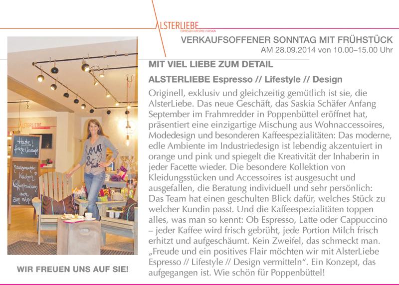 HEIMAT ECHO - Wochenzeitung für Hamburgs Nordosten berichtet über ALSTERLIEBE - Concept Store - verkaufsoffener Sonntag am 28. September 2014
